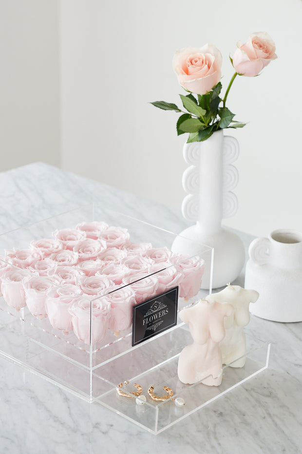 Acrylic Box with Pink Long Lasting Roses
