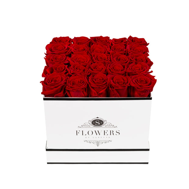 Square Elegance - Red Long Lasting Roses