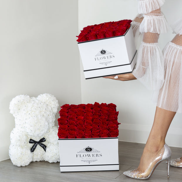 Square Elegance - Red Preserved Roses