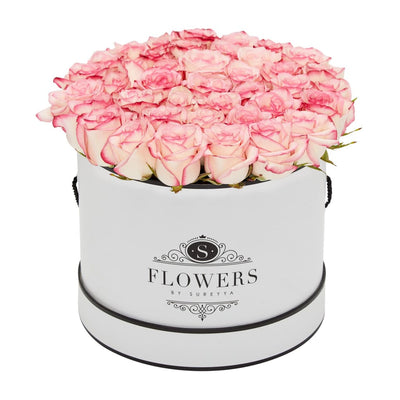 Elegance - Bicolour Pink Roses - Large / White / Yes Please (FREE) - Elegance Bicolor Pink