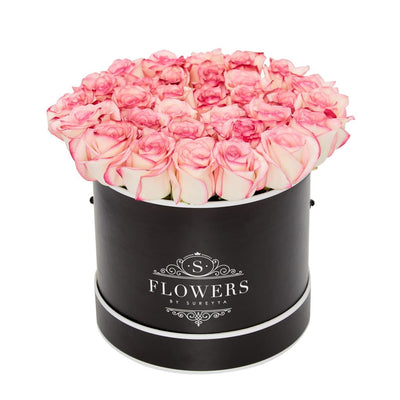 Elegance - Bicolour Pink Roses - Small / Black / No Thanks - Elegance Bicolor Pink