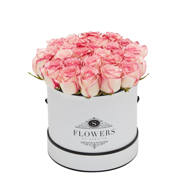 Elegance - Bicolour Pink Roses - Small / White / No Thanks - Elegance Bicolor Pink