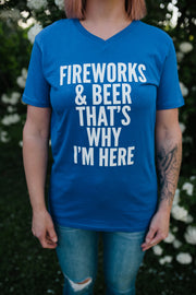 4th of July: Fireworks & Beer Graphic Tee