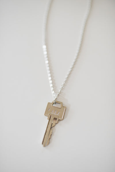 "Pewter ""Free"" Key Necklace"