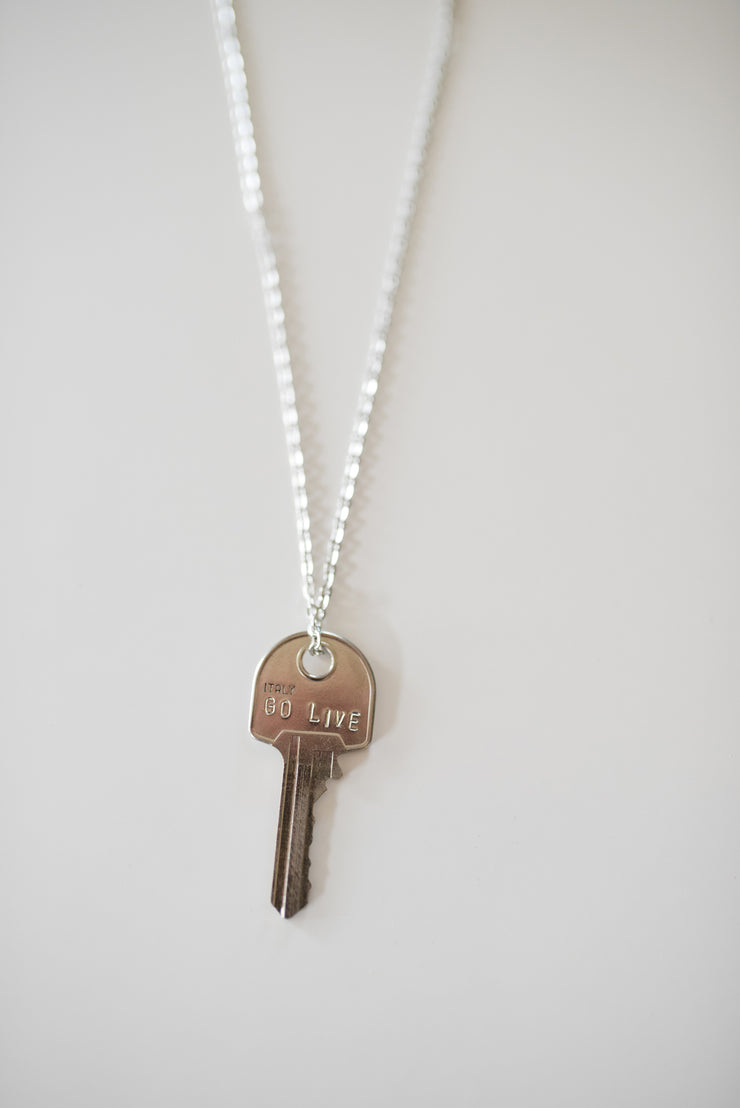 "Pewter ""Go Live"" Key Necklace"