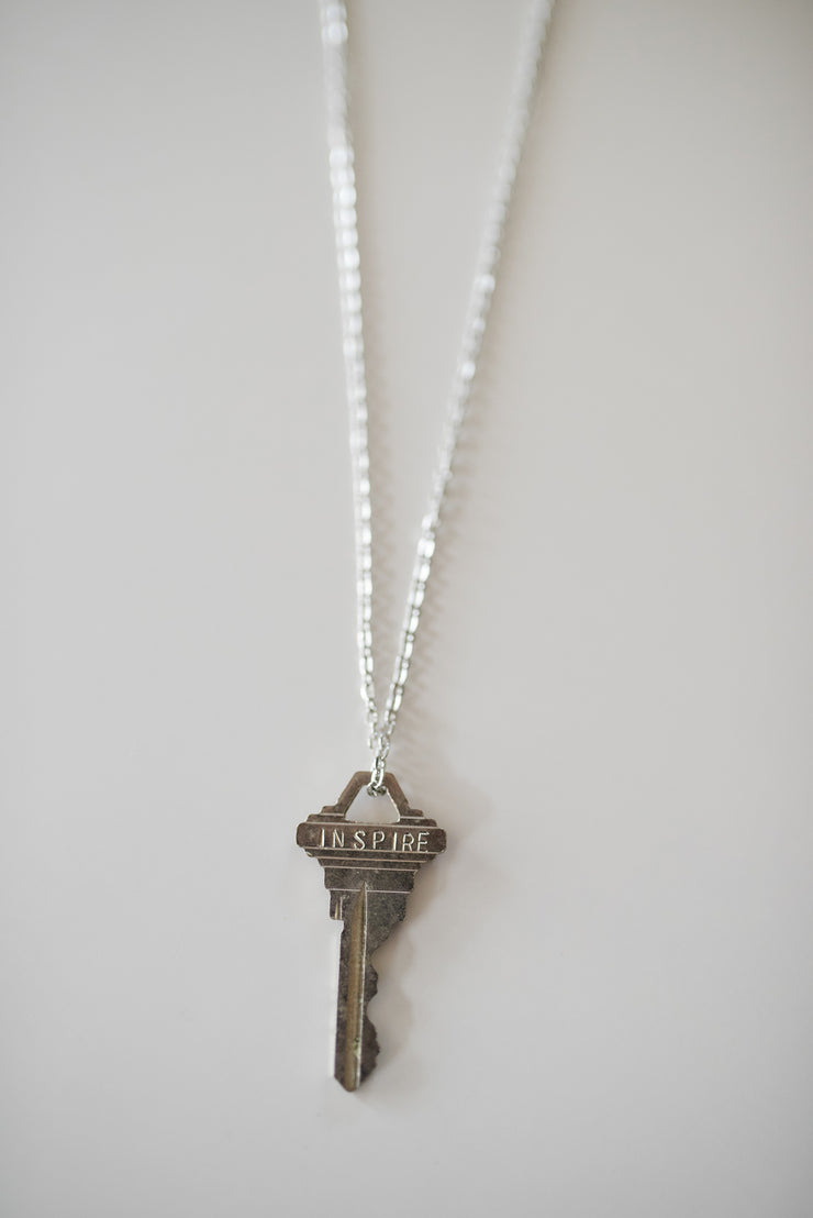 "Pewter ""Inspire"" Key Necklace"