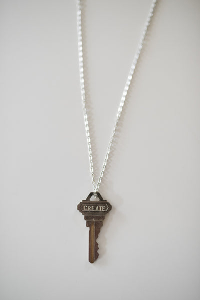 "Pewter ""Create"" Key Necklace"