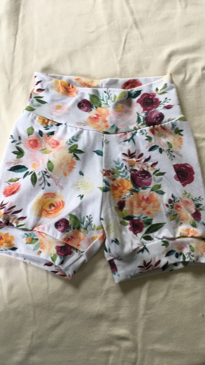 2/3T Autumn Watercolor Cuff Shorts RTS