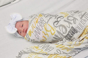 Personalized Organic Baby Name Swaddle or Fleece Blanket