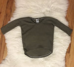 18-24 Months RTS Curved Hem Hi-Low Tunic Olive Waffle Knit