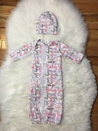 Newborn Baby Girl Gown and Hat Set RTS