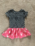 Polka Dots and Hot Pink Deer Peplum Drop Waist RTS