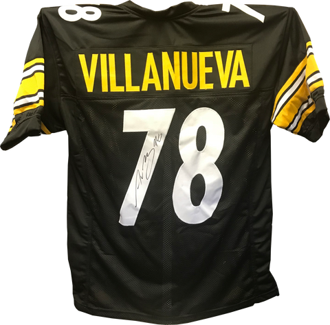 ALEJANDRO VILLANUEVA SIGNED CUSTOM BLACK JERSEY