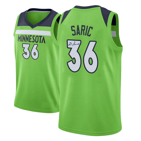 DARIO SARIC AUTOGRAPHED GREEN PRO JERSEY
