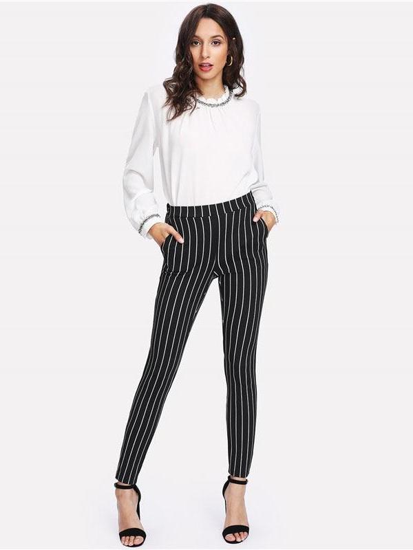 Striped Elastic Pants