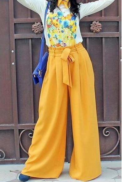 Yellow High Waist Wide Leg