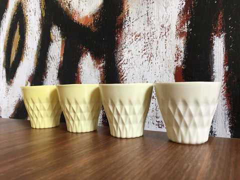CRYSTAL PALACE PORCELAIN CUP X 4 YELLOW COLLECTION