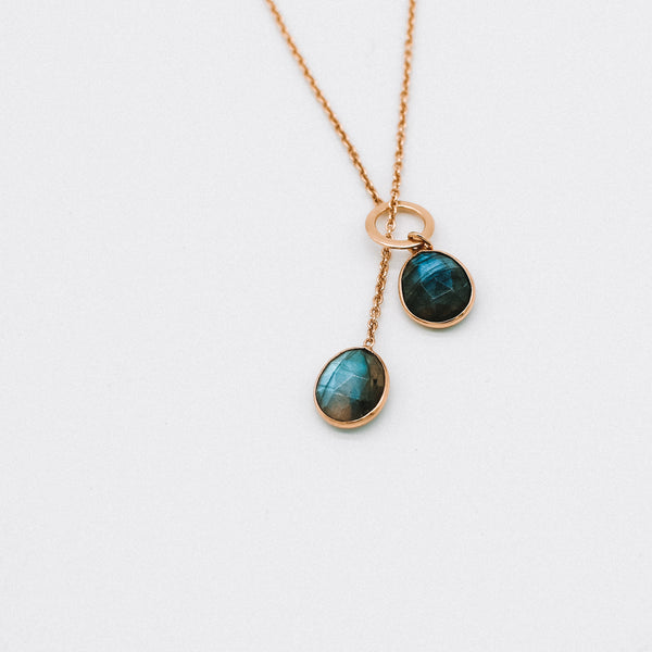 Double stone drop necklace