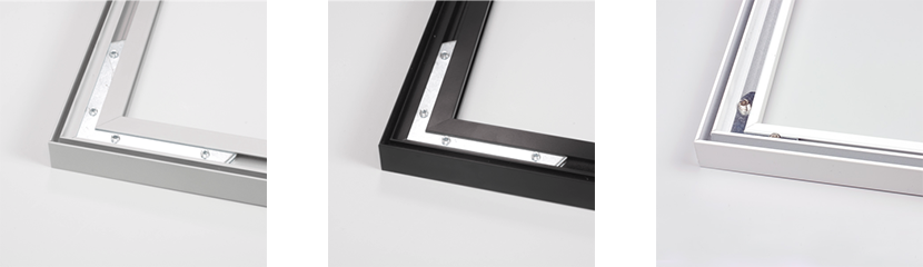 Frames in aluminum silver, black and white