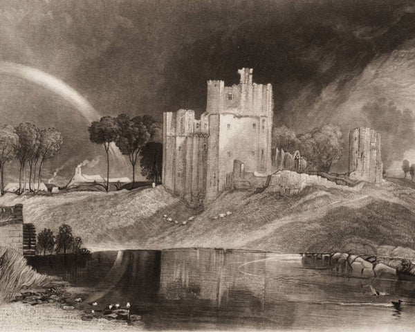 Mezzotint art landscape with a castle