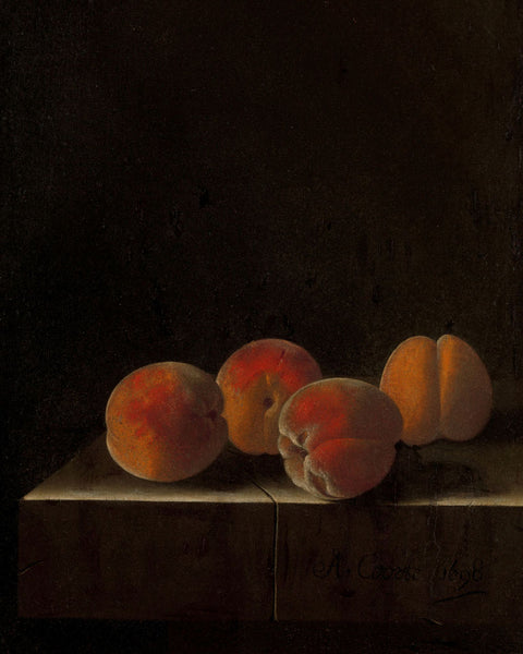 Four Apricots on a Stone Plinth, Adriaen Coorte - art for your interior