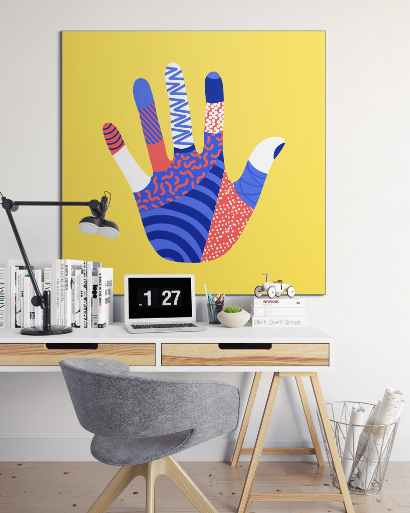 Workplace with bright palm art print