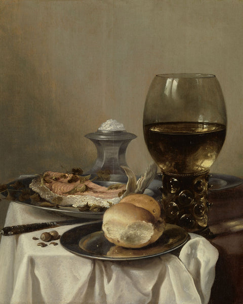 Still life with a salt barrel by Pieter Claesz