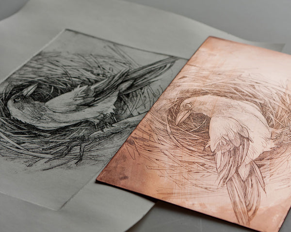 Etching with crow