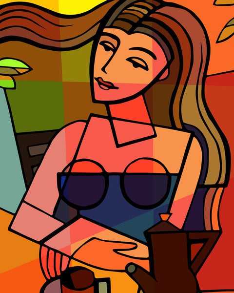 Cubism art for home or office - woman