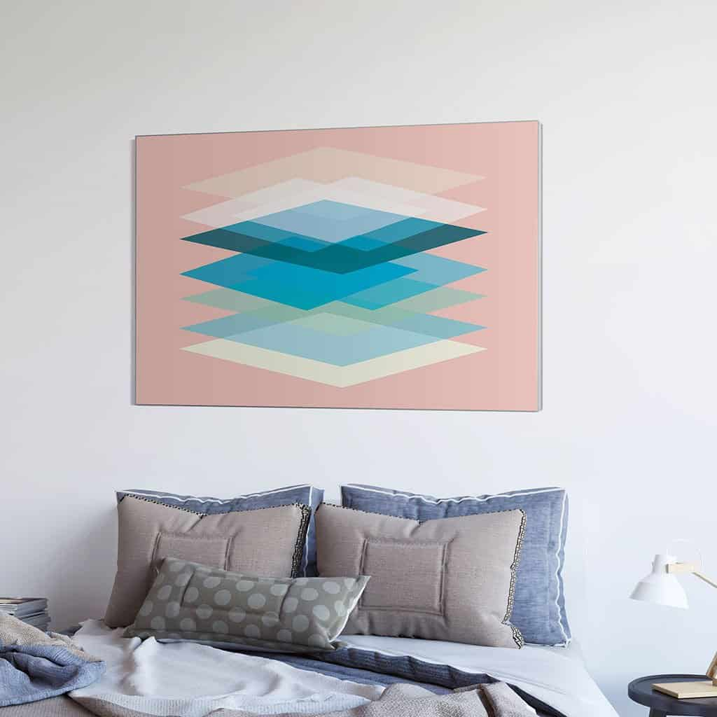 Abstract Geometric Overlay Blue Rectangles