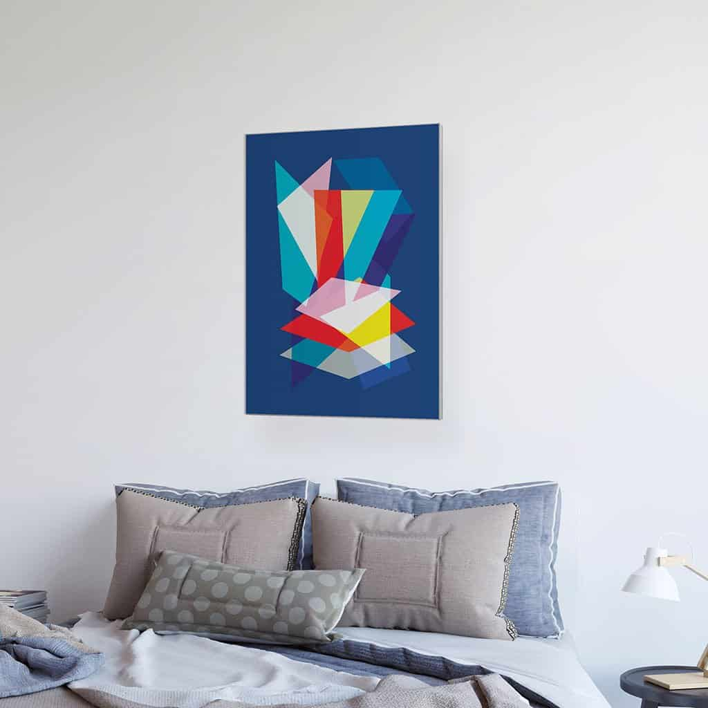 Abstract Geometric Overlay Rectangles on Blue