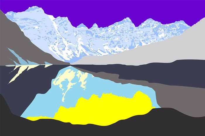 Pop art landschap paars met bergen IX