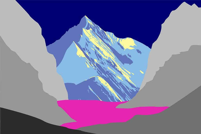 Pop art landschap paars met bergen XI