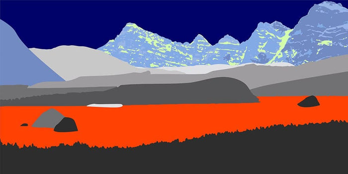 Pop art landschap paars met bergen VII