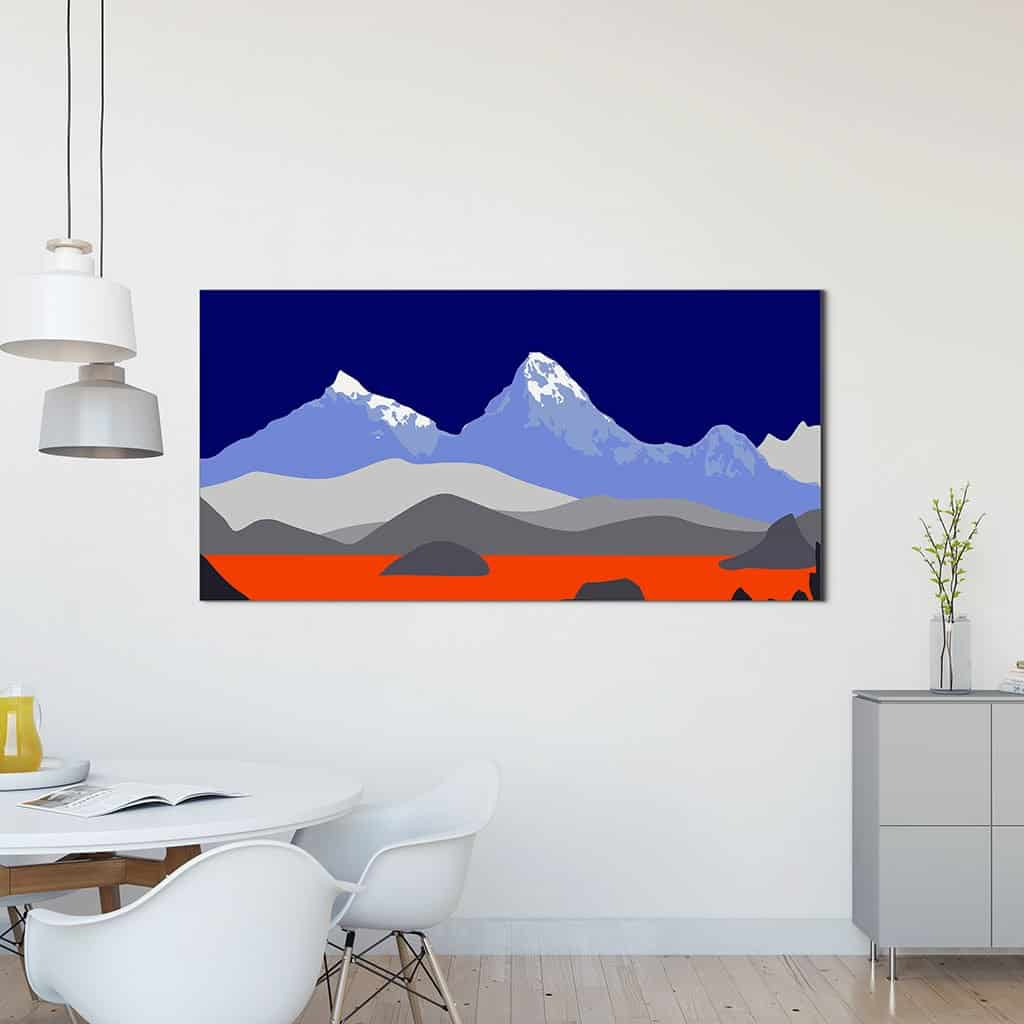 Pop art landschap paars met bergen II