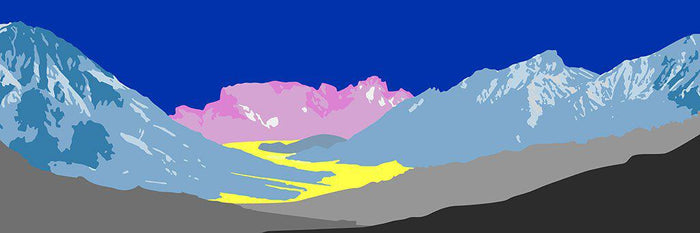 Pop art landschap paars met bergen X