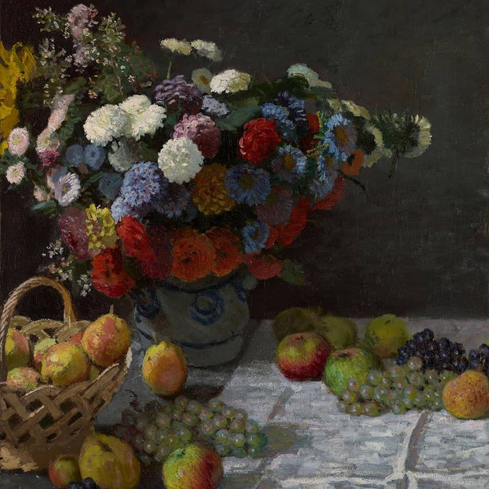 Stilleven met bloemen en fruit - Claude Monet