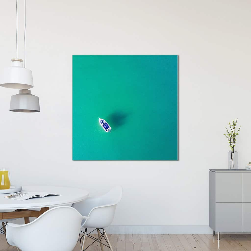 Boat in green sea with Black frame