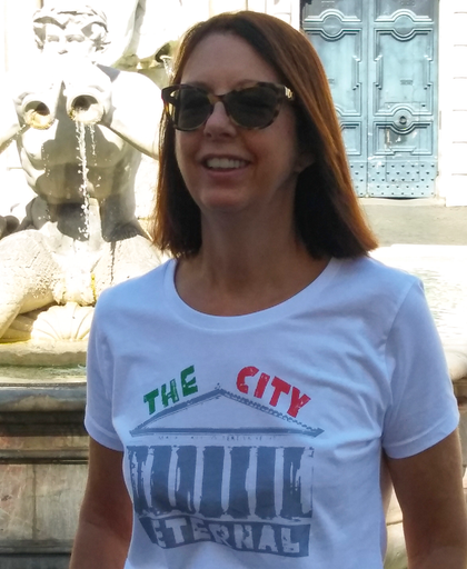 Woman wearing Rome T-shirt