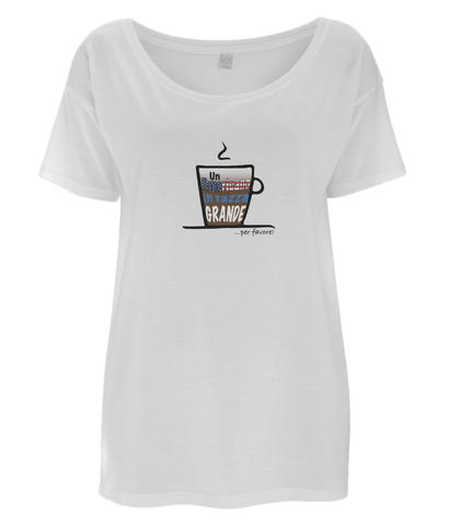 Women's Lightweight, Oversized T-Shirt 'Americano' Design
