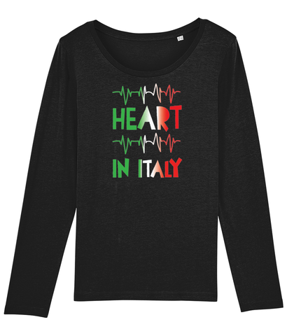 Ladies Organic Cotton Long Sleeve T-Shirt Heart in Italy Design