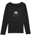 Ladies 'Prosecco' Long Sleeve Organic Cotton T-Shirt