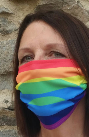 woman wearing rainbow face mask