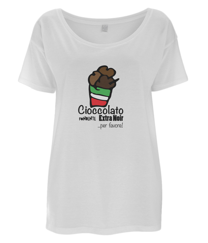 Women's Lightweight, Oversized T-Shirt 'Chocolate' Design