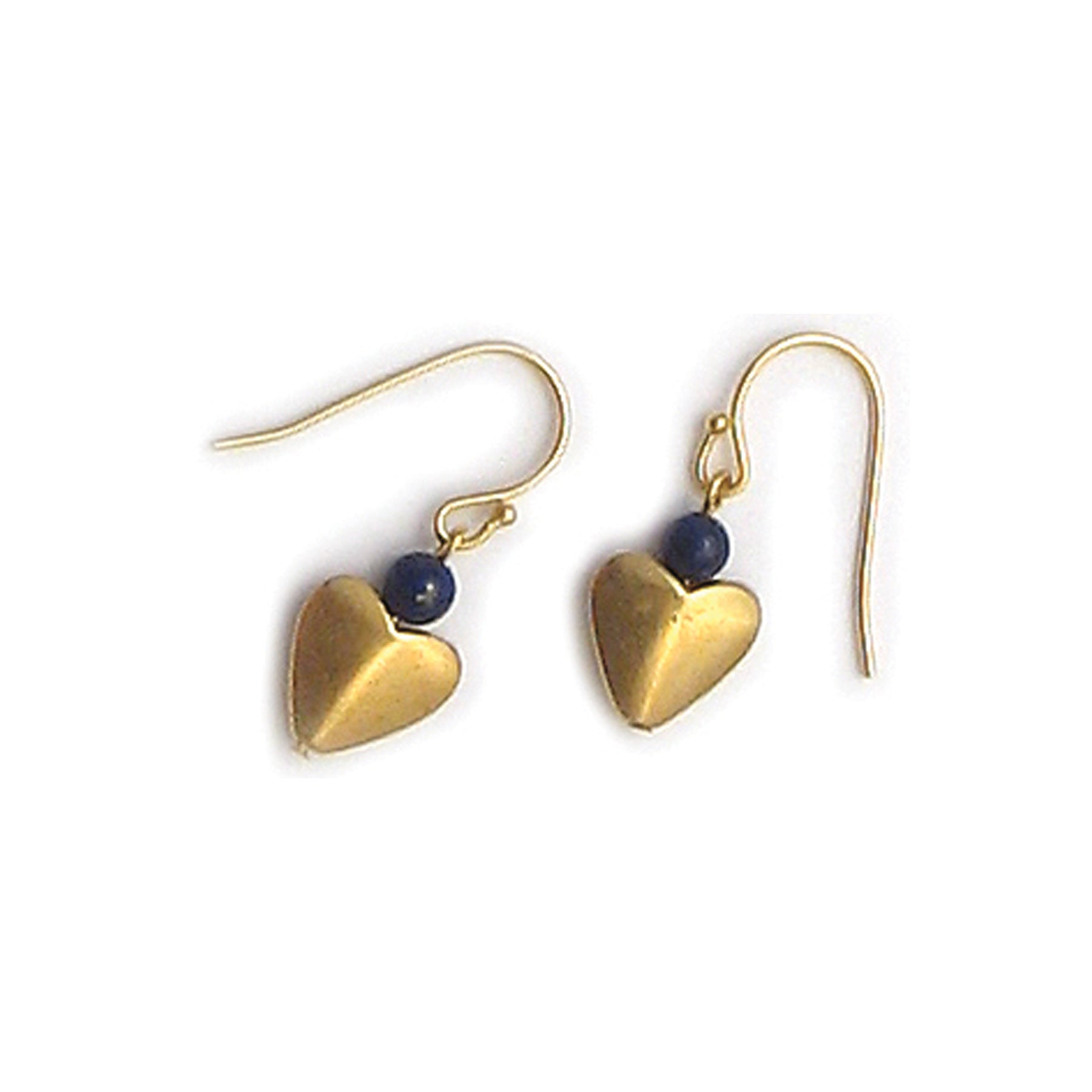 Lapis Bactrian Heart Earrings