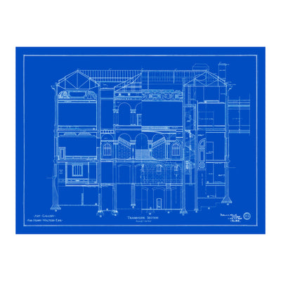 Walters Art Museum Main Building Transverse Blueprint Matted Print