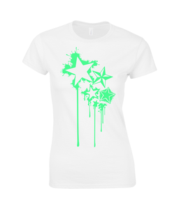 Splat Stars Ladies Premium Cotton T-Shirt - Infinity Decals