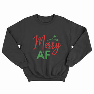 Merry AF Christmas Unisex Jumper - Infinity Decals