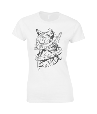 Future Cat Black & White SoftStyle® Ladies Fitted Ringspun T-Shirt