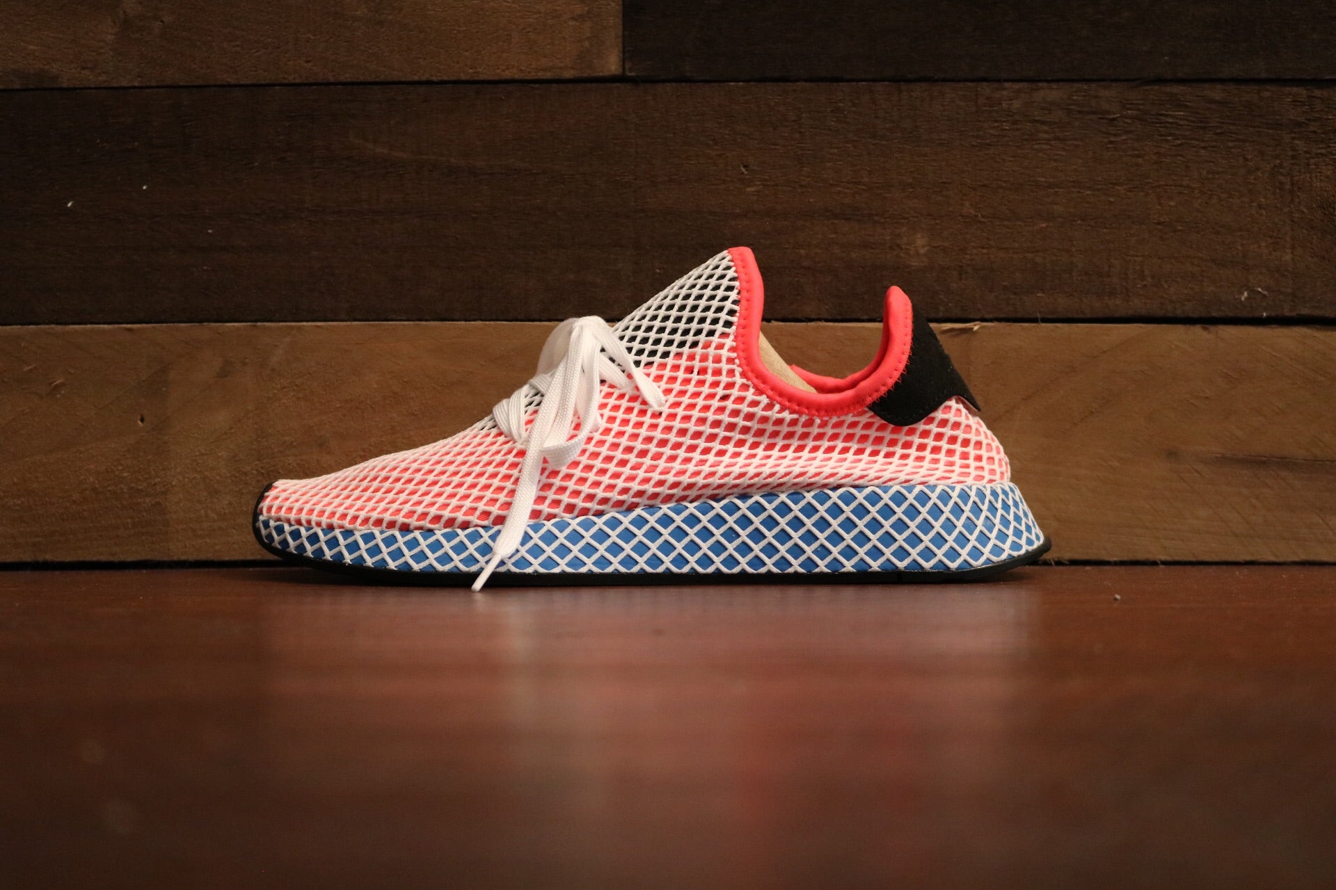 best website 62000 479bc adidas Deerupt Solar Red Bluebird